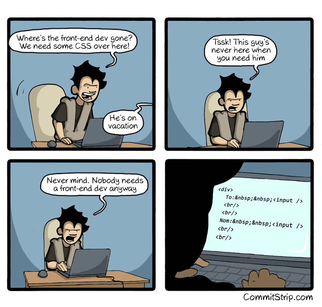 When The Front End Dev Is On Vacation Commitstrip