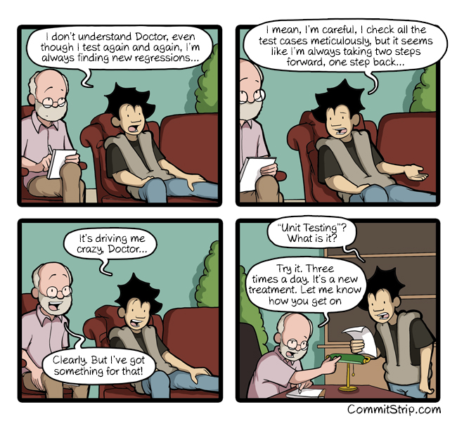 Commitstrip on Unit Testing